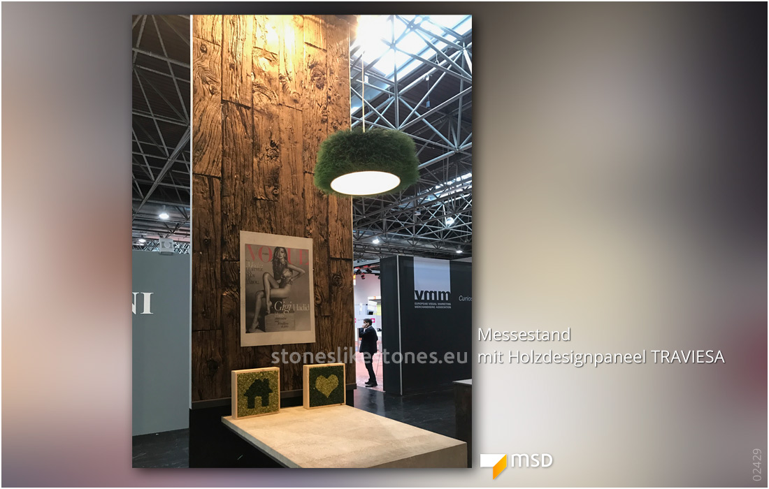 Steinpaneel Messebau 02429 – Holzdesign 445 Traviesa Nogal – Messestand