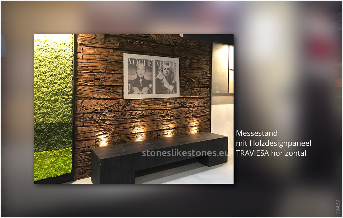 Steinpaneel Messebau 02432 – Holzdesign 445 Traviesa Nogal – Messestand